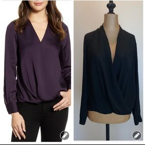 Topshop black Faux wrap blouse top #3548